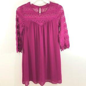 EUC Speechless Pink/Burgundy Crochet Mini Dress M